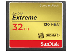 Sandisk Extreme CompactFlash 32Gb 120Mb/s.